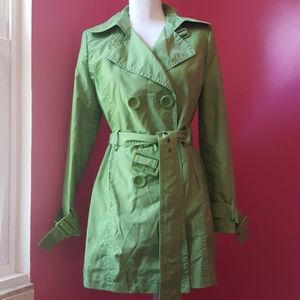 Style & Co Lime Green Trench Coat NWOT